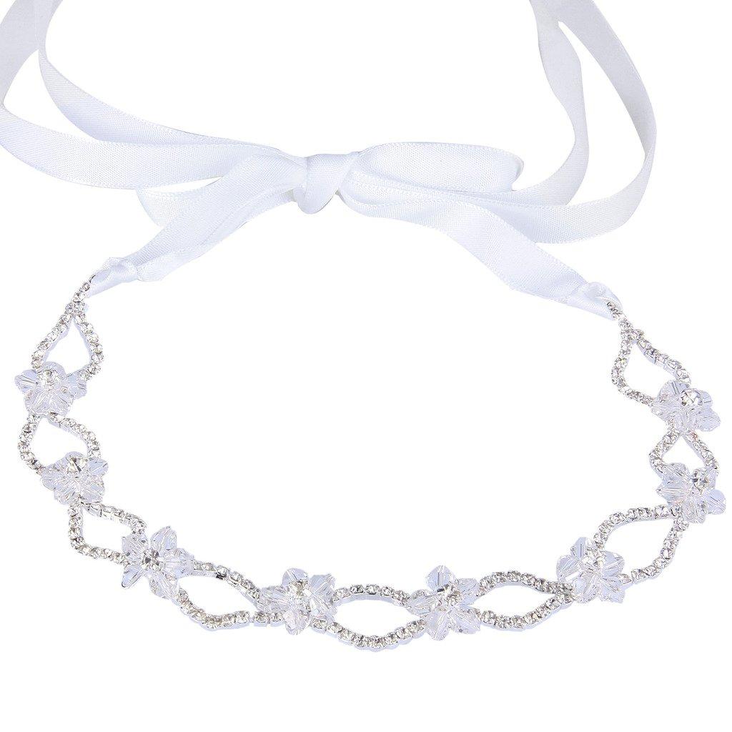 Ever Faith Silver-Tone Austrian Crystal Beaded Hibiscus Flower Wave Ribbon Hair Band Head Piece Clear N06383-1