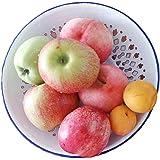 YumCute Home Vintage Look Enamel Vented Self-draining Bread Bowl Plate Rolls Fruit Bowl, Enamelware Colander Bowl Plate, Blue