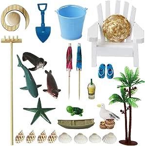 BangBangDa - Kit de Accesorios de jardín para Playa Zen – Juego de Mesa de Arena con Arena Azul – Alivio del estrés Juguetes para Terapia Oficina decoración (23 Piezas): Amazon.es: Jardín