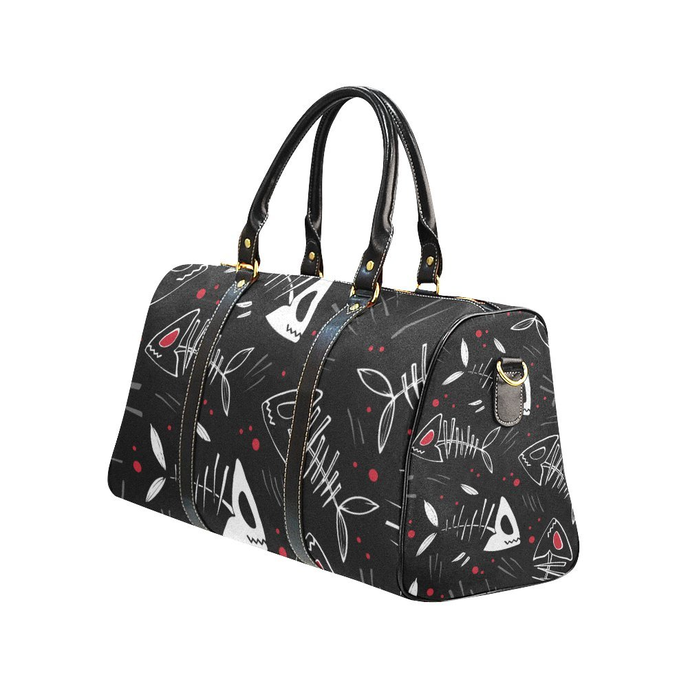 Waterproof Travel Duffel Bag Womens Weekend Bag Fish Bone Mens Luggage Bag For Gym Sports Overnight Trip
