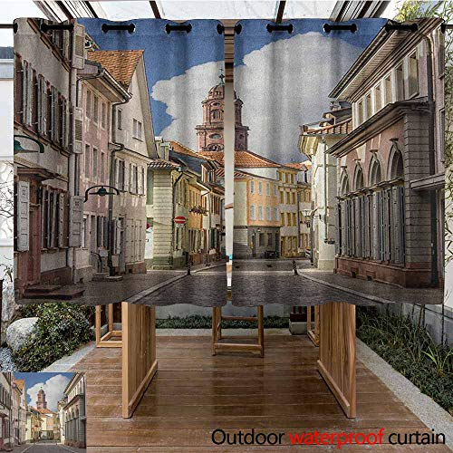 AndyTours Outdoor Curtain Panel for Patio,European,Heidelberg Old City Streets Picturesque Town with Medieval Architect Panorama,Waterproof Patio Door Panel,K140C115 Multicolor