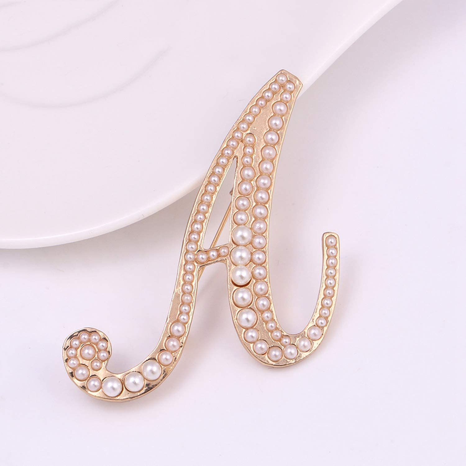 myeuphoria Brooch Pins-Simulated Pearl Letter A Brooch Pins Gold Color Plated