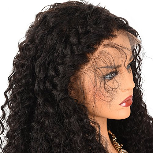 Amazon.com: 250% Denisty Natural Kinky Curly Human Hair Lace Front Wig Free Part Malaysian Virgin Hair Lace Wig for Black Women (20
