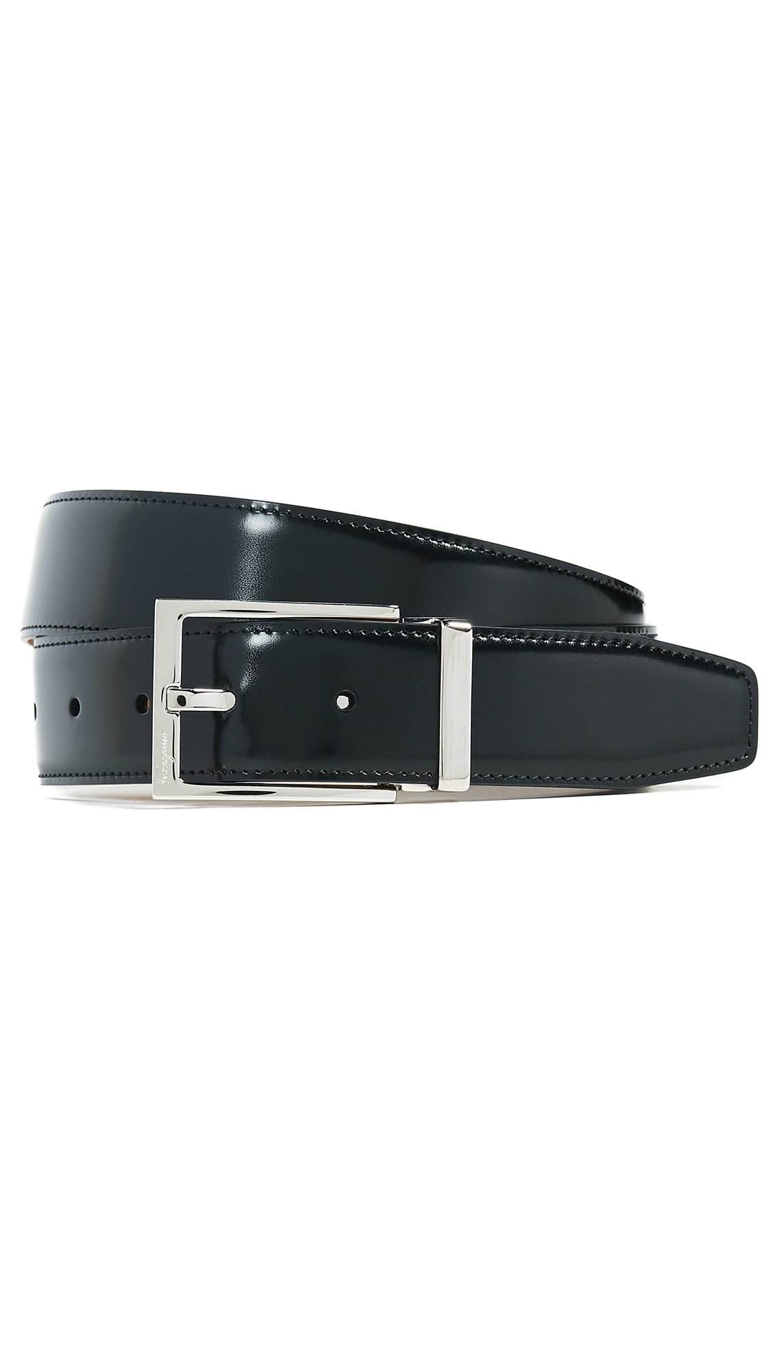 Salvatore Ferragamo Men's Adjustable & Reversible Belt, Black, 34