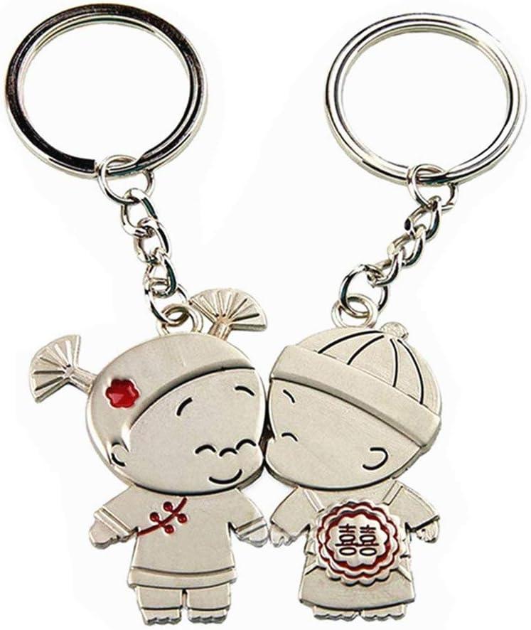 1 Paire Romantique Couple Porte-cl/és M/étal Pendentifs Porte-cl/és pour Mariage Anniversaire Valentin Cadeau par SanGood