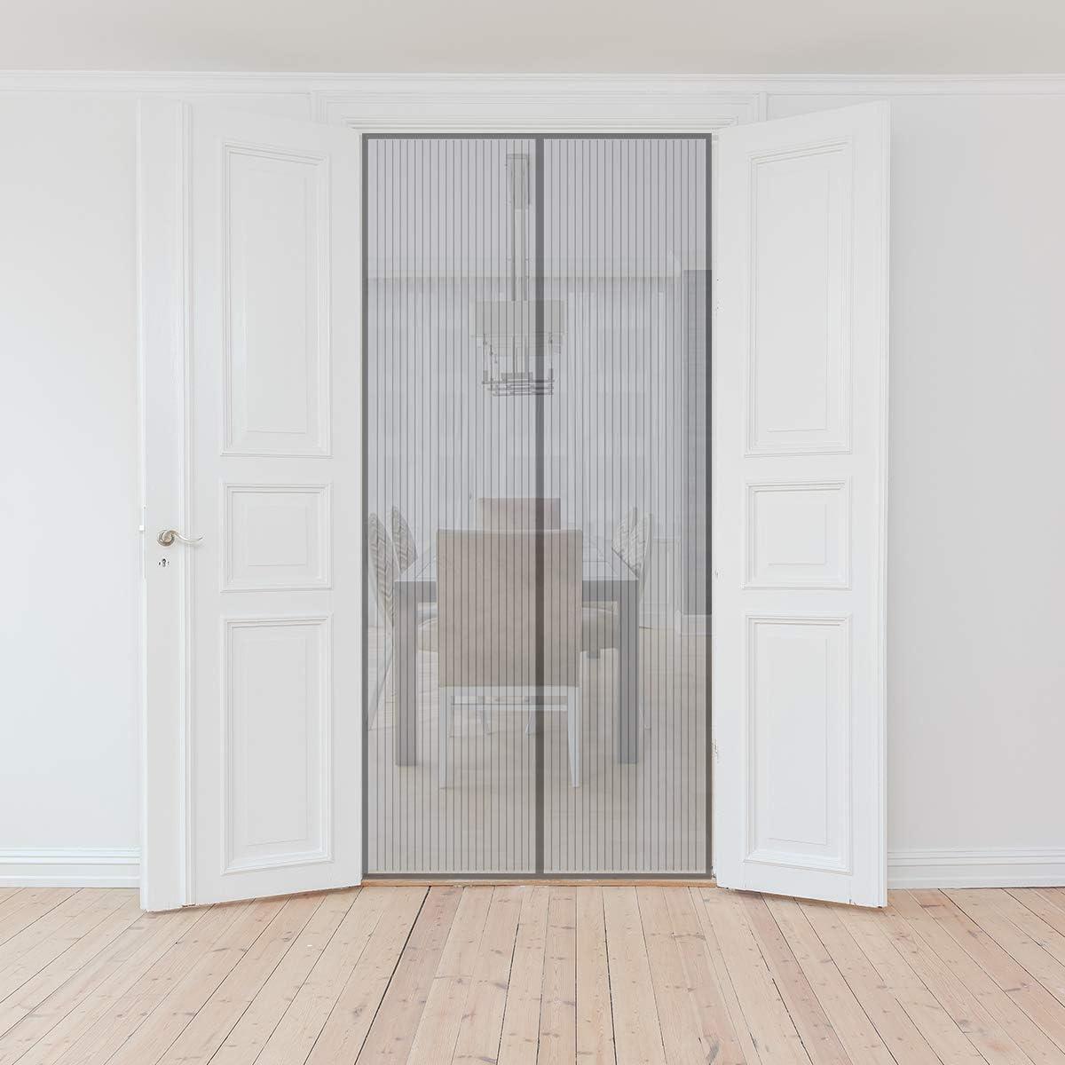 porte in alluminio e balcone Sekey Zanzariera Magnetica per porta Facile da installare Bianco per legno anti insetti ferro si Chiude da Sola 220 x 110cm