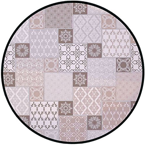 Patchwork Mat Pastel - Printing Round Rug,Arabian Decor,Oriental Motif Pastel Patchwork Pattern with Filigree Ornaments Illustration Art Mat Non-Slip Soft Entrance Mat Door Floor Rug Area Rug For Chair Living Room,White Bei