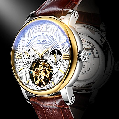 Complications Men's Business Automatic Mechanical Skeleton Casual Watch with Leather Band (Brown Band-White Gold) by NESUN (Image #2)