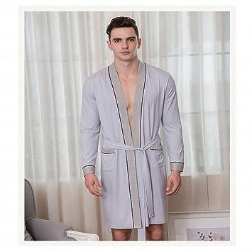 WEII Bata de Pijamas de Algodón para Hombres con Albornoz XL de Fertilizante,Gris,