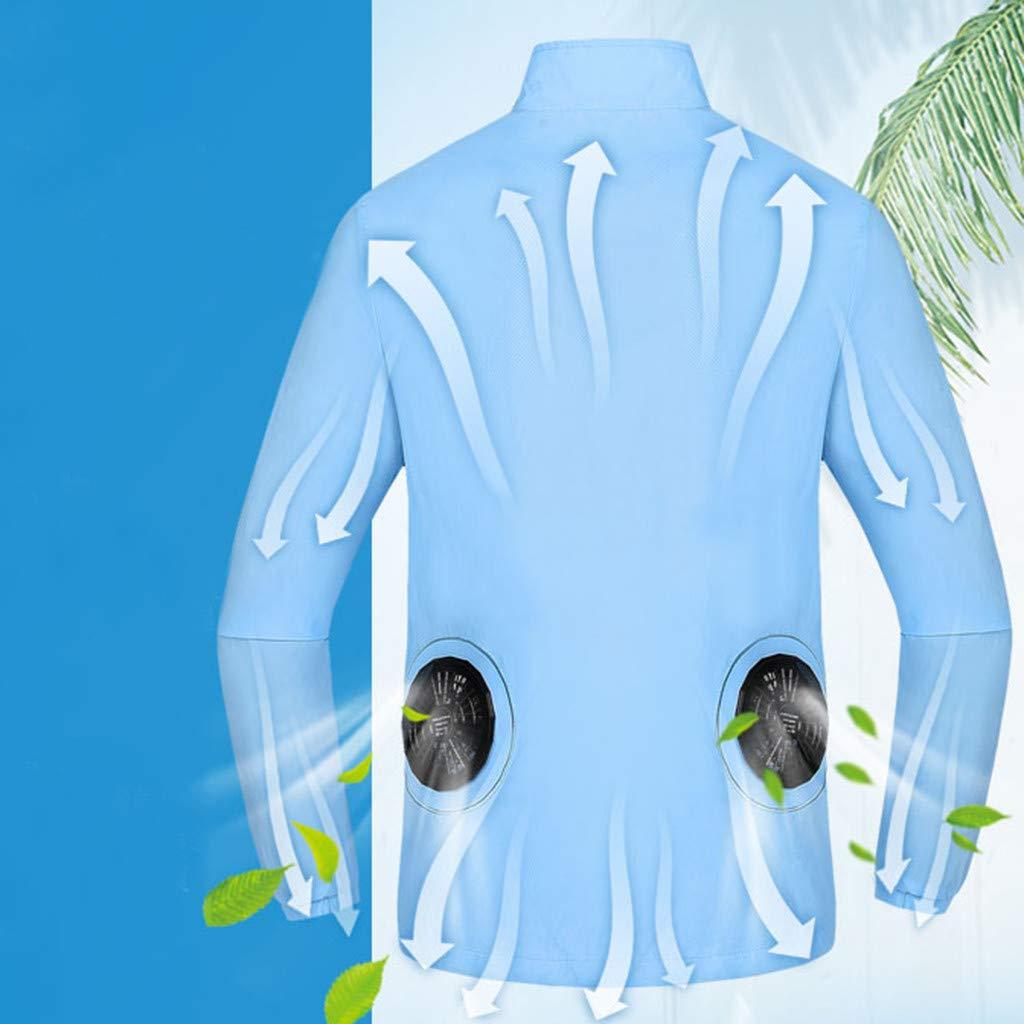 iZZZHH Summer Heatstroke Countermeasures Miniature Fan Outdoor Long-Sleeve Working Clothes Top Shirt
