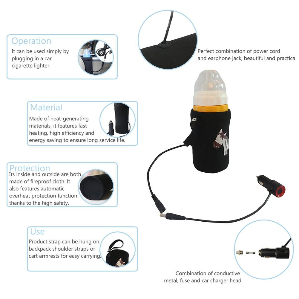 Yunhigh Bottle Warmer Baby Car 12V Portable Travel with Cigar Lighter