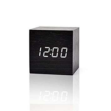 FiBiSonic LED Despertador Digital de Madera Reloj de Mesa Reloj Fecha/Pantalla de Temperatura de Brillo Ajustable: Amazon.es: Hogar