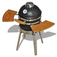 Kamado Grill schwarz Keramik XXL Keramikgrill Garten ✔ Deckel ✔ oval ✔ Grillen mit Holzkohle ✔ mit Station
