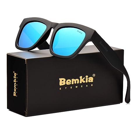 7eae63b2fe0a Bemkia Polarized Sunglasses Men Women UV400 Protection,58mm Len(Bule/Mirror)