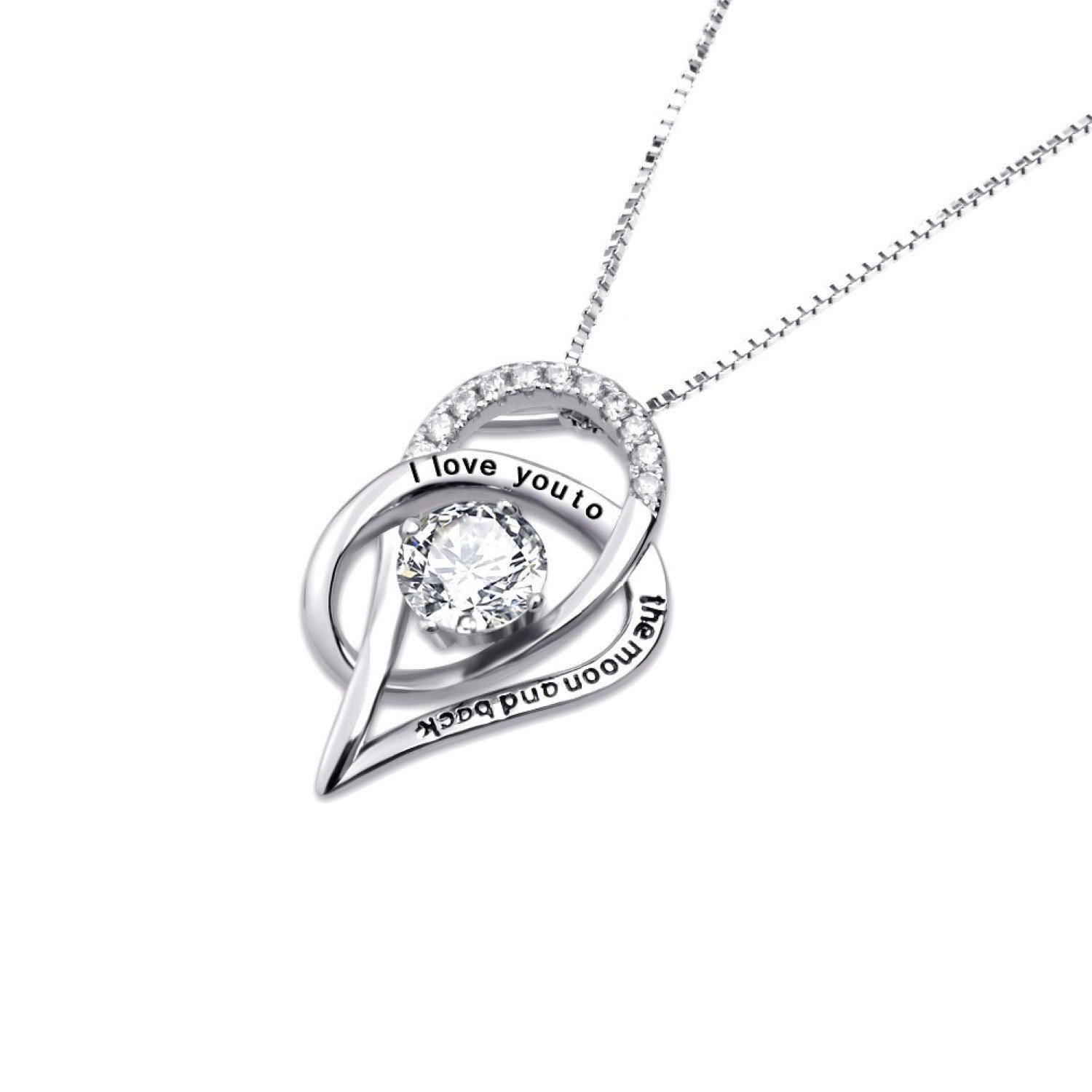 CS-DB Pendants Necklaces Silver I Love You to The Moon and Back CZ Rhinestone Heart Jewelry Girls