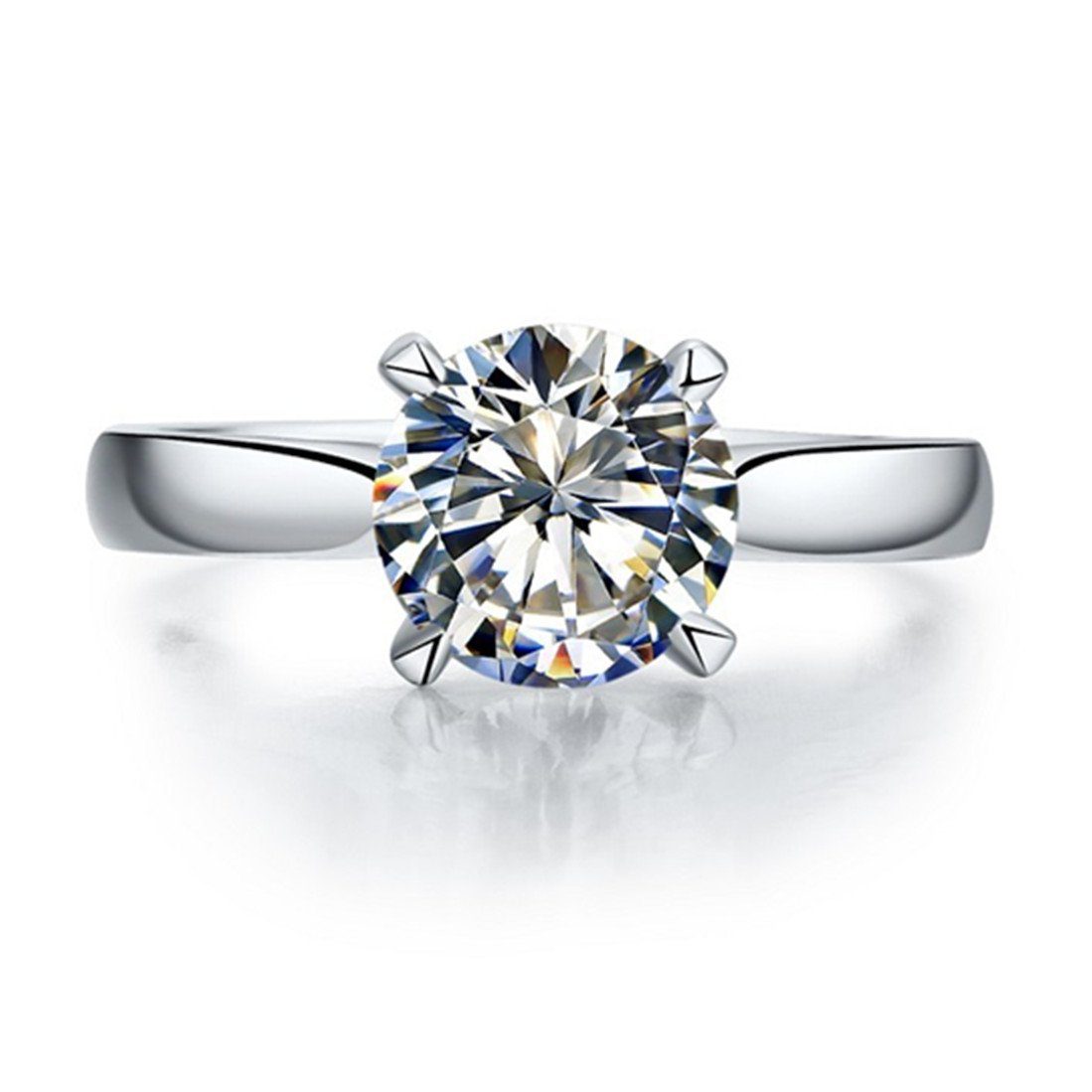 Sterling Silver 2CT NSCD Simulated Diamond Solitaire Prongs Brand Ring Engagement for Women
