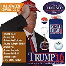Donald Trump Mask w/ Make America Great Again Hat [Full President Halloween Costume Set] - OR Office Holiday Party Christmas White Elephant / Gag Gift!