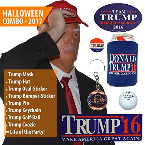 Donald Trump Mask w/ Make America Great Again Hat [Full President Halloween Costume Set] - OR Office Holiday Party Christmas White Elephant / Gag Gift! (President Halloween Masks 2017)