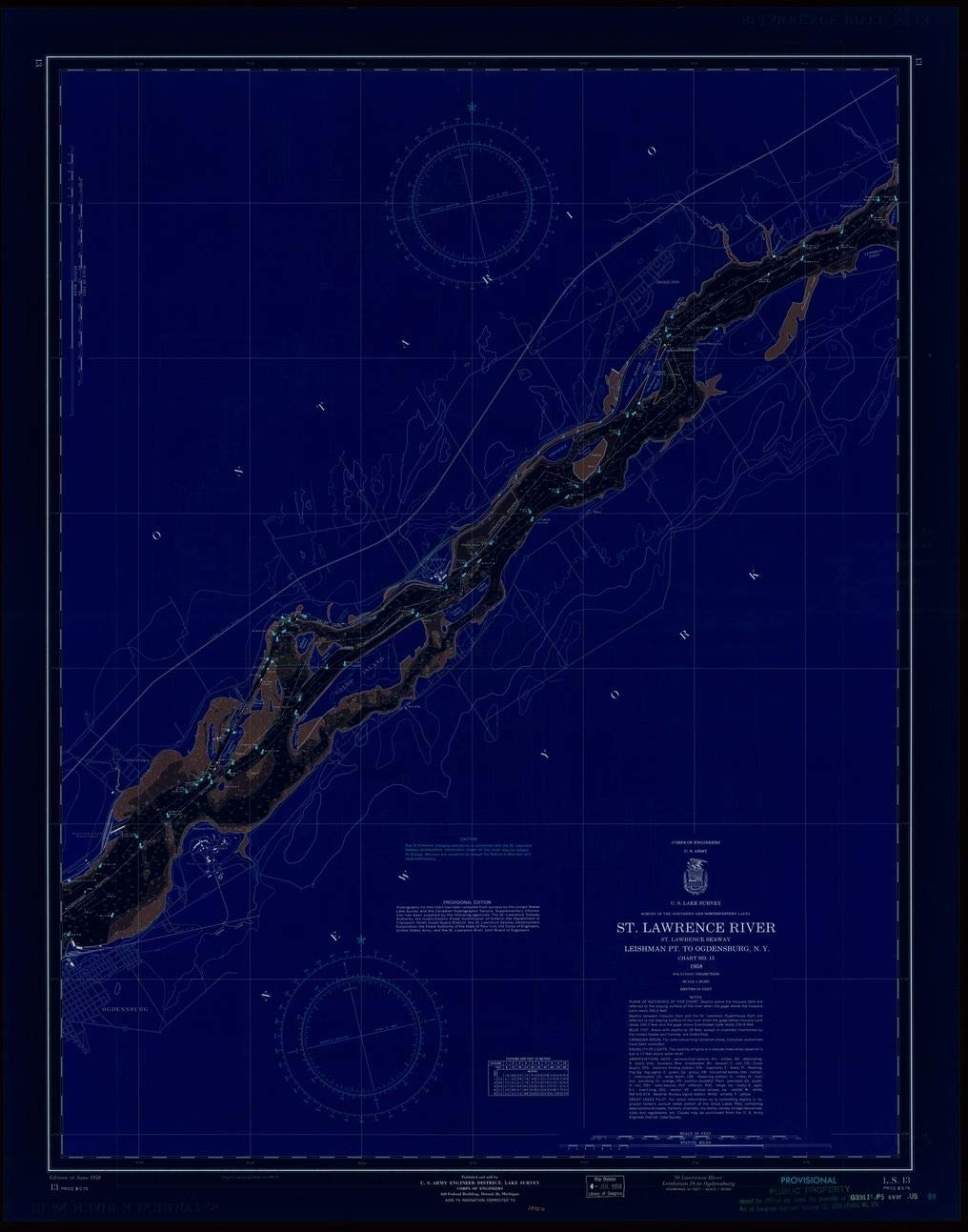 Vintography Blueprint Style 18 x 24 Reprint of 1958 Nautical Chart ST. Lawrence River, ST. Lawrence Seaway, LEISHMAN PT. to Ogdensburg, N.Y. by Lake Survey NY