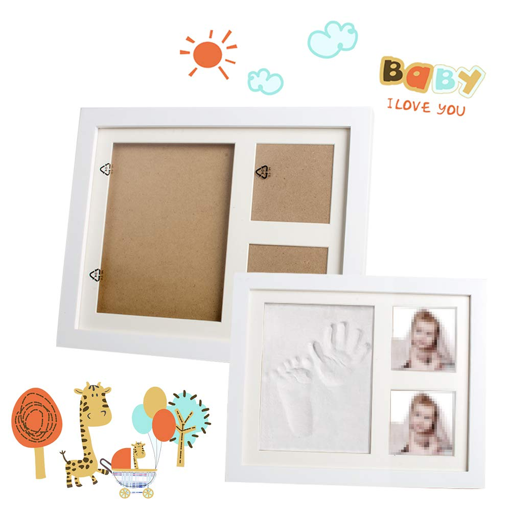 Careshine Newborn Baby Handprint and Footprint Picture Frame Kit, Keepsake Box for Boys and Girls Personalized Table and Wall Photo Decoration Baby Photo Album for Shower Registry