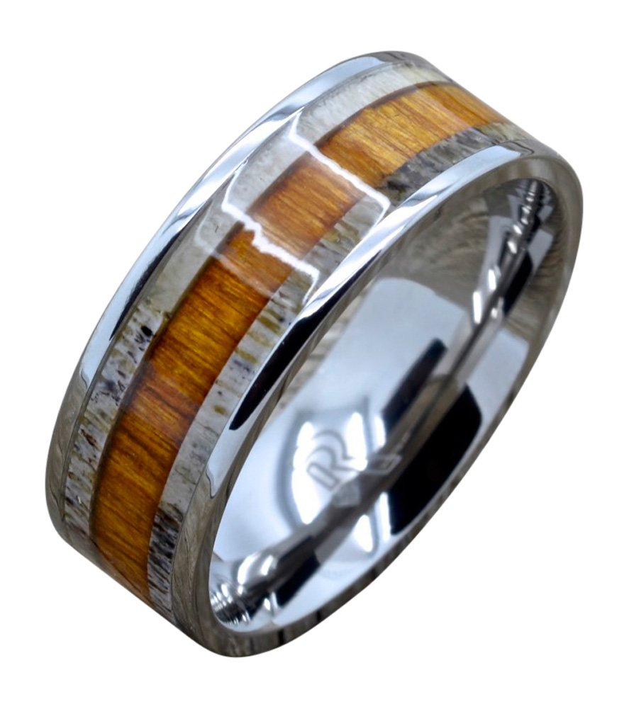 Randall Scott Jewelers Titanium Deer Antler Ring with Hawaiian Koa Wood Inlay, 8mm Comfort Fit Wedding Band (9)