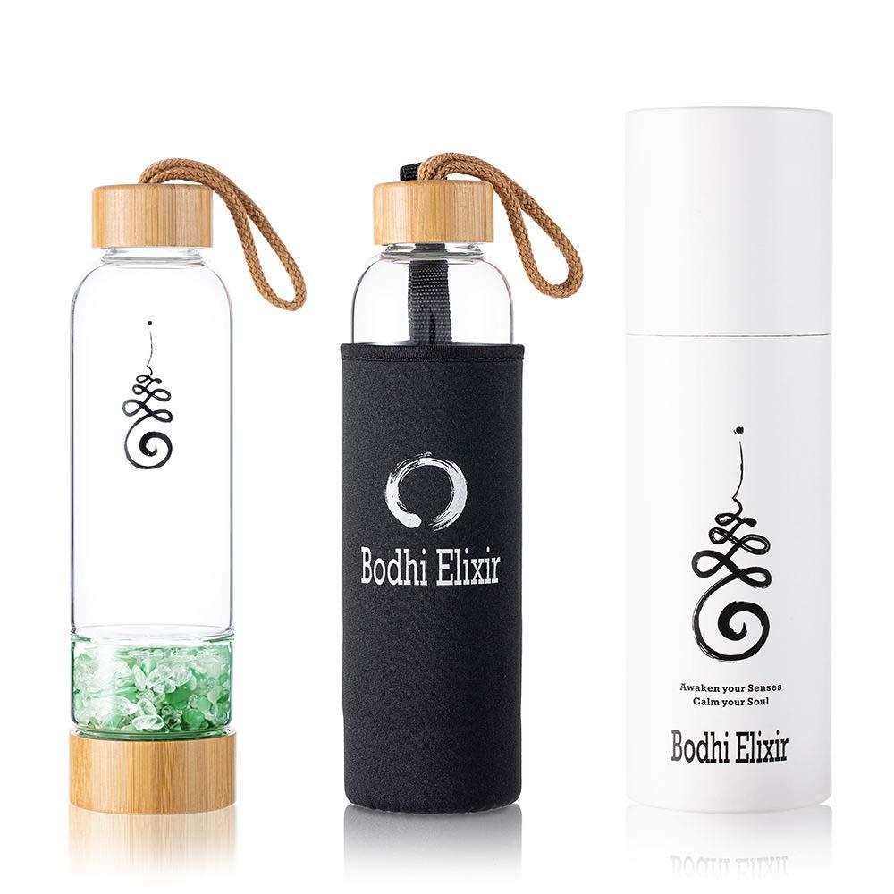 Bodhi Elixir Crystal Water Bottle - Crystal Healing Water Bottle, Quartz Crystal Water Bottle, Includes Gemstones and Protective Neoprene Sleeve
