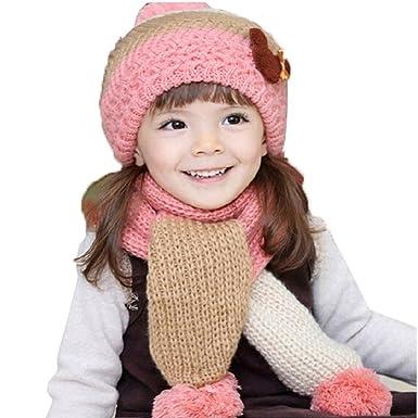 f3fd158ec GenialES 2pcs Gorro de Punto con Bufanda Lindo para Invierno Niños 1 a 7  años Rosa  Amazon.es  Ropa y accesorios