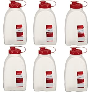 Rubbermaid 712395881392 Servin Saver White Bottle 2 Qt. (Pack of 6), 6 Pack, Clear, 6 Pack