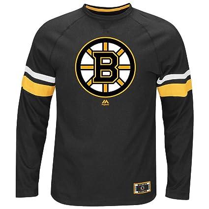 Majestic NHL Boston Bruins Black Power Hit Long Sleeve Tee Shirt (X-Large) 13e8f38c9
