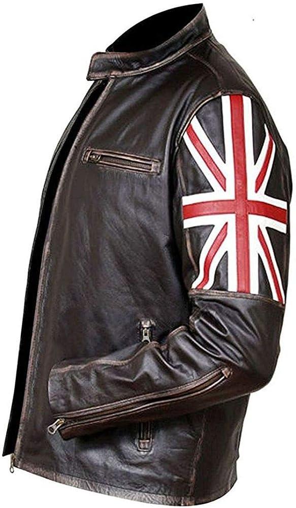 Brown UKFLAG Skull Distressed Leather Jacket