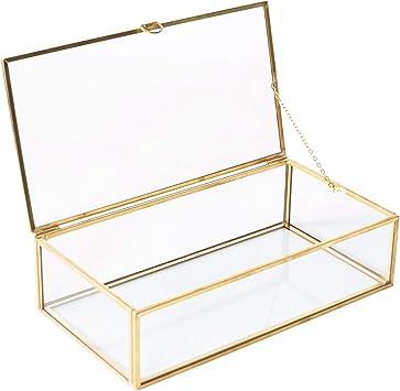 Golden Glass Jewelry Keepsake Box Home Decor Display Vintage Glass Jewelry Organizer Decorative Accent Brass Clear Glass 8x4 5x2in Home Improvement
