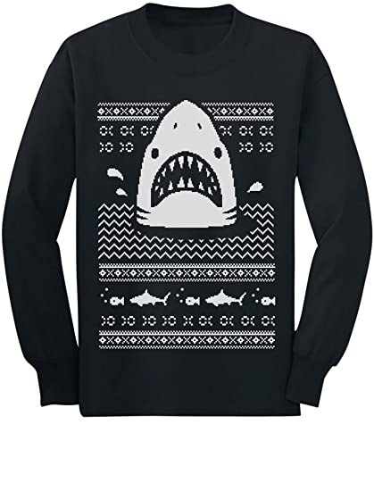 Amazoncom Great White Shark Ugly Christmas Sweater Youth Kids Long