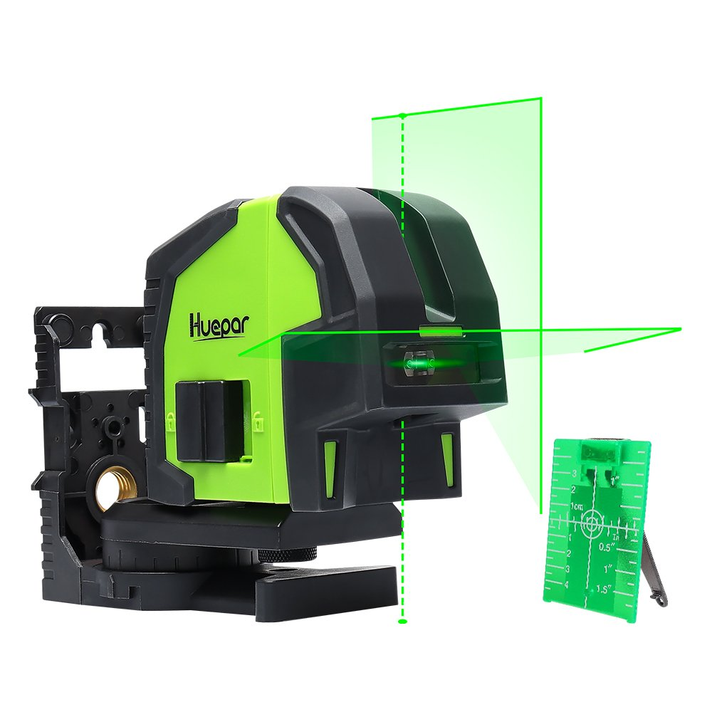 Cross Line Laser Level with 2 Plumb Dots- Huepar 8211G Professional Green laser Beam Fan Angle of 130° Selectable Vertical & Horizontal Lines, Multi-Use Self-Leveling Alignment Laser Level