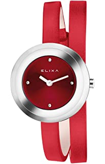 Elixa E092-L347 Womens Watch Red Double Wrap Leather Strap