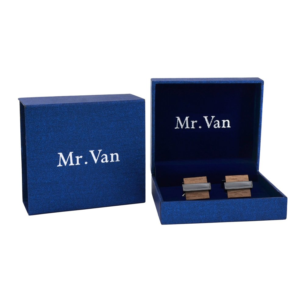 Mr.Van Natural Wood Cufflinks Men's Handcrafted Square Wood Cuff Links Set Classic Wedding Business Gift for Men by Mr.Van (Image #7)