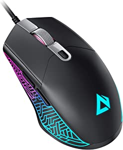 AUKEY Scarab Gaming Mouse [Lightweight 75g] 7200 DPI Optical Mouse, RGB Wired Gaming Mouse with 6 Programmable Buttons, Remap and Macros Features