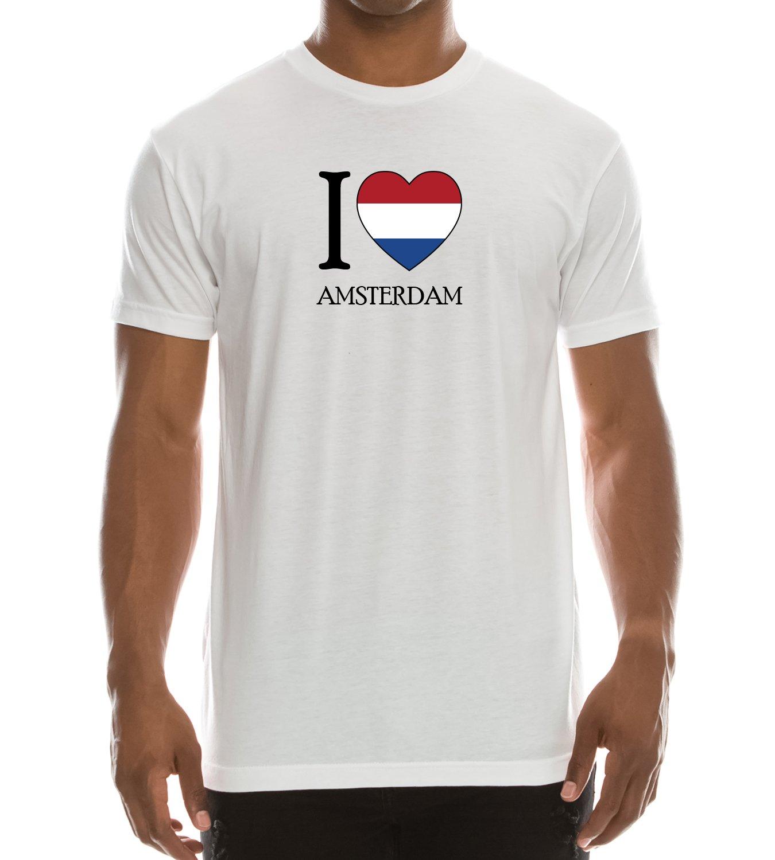 Trendy Apparel Shop I Love Amsterdam Printed Short Sleeve T-Shirt - White - M