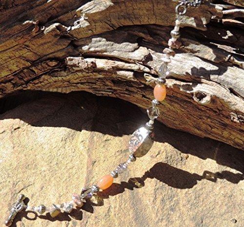Leopard Jasper, Amber, Glass & Pewter Bracelet