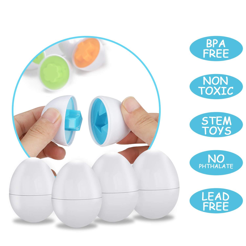 Anleolife Color Shape Matching Egg Set, Preschool Montessori Toys for Toddler Games, Educational Color Recognition Skills Learning by Anleolife (Image #3)