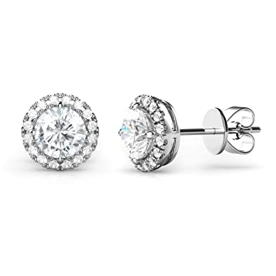 17b7785e9 Amazon.com: 925 Sterling Silver Round CZ Cubic Zirconia Halo Earrings:  Jewelry