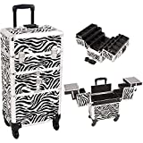 Sunrise I3464ZBWH Zebra 3 Tiers Accordion Trays 4 Wheels Professional Rolling Aluminum Cosmetic Makeup Craft Storage Organizer Case and 6 Tiers Extendable Trays with Dividers