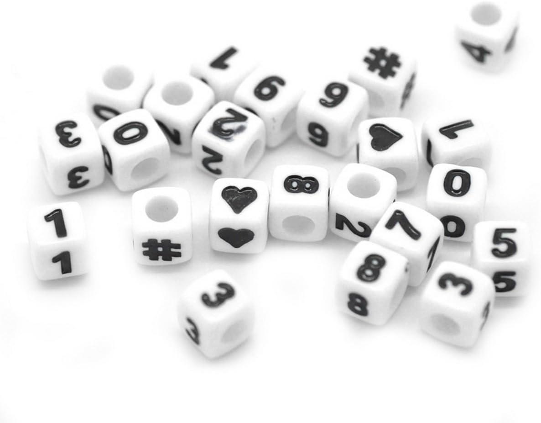 HOUSWEETY 300 Mixte Perles Cube Chiffre Noir /£/¦ Blanc Acrylique 7x7mm