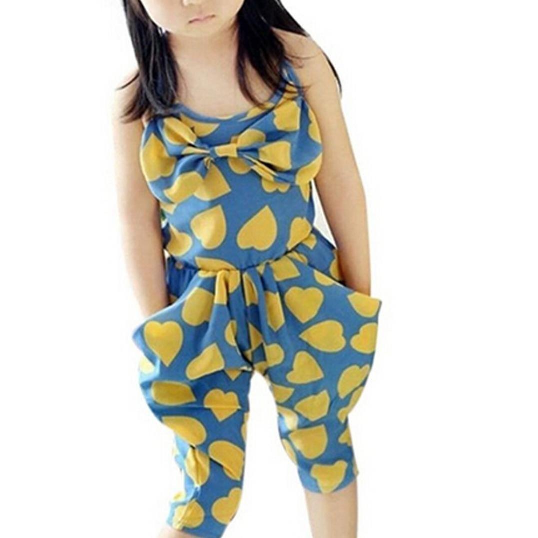 LUQUAN Girls Big Bowknot Strap Heart Harem Sweet Pants Romper Jumpsuit Cloths 6-7 Tall,Yellow