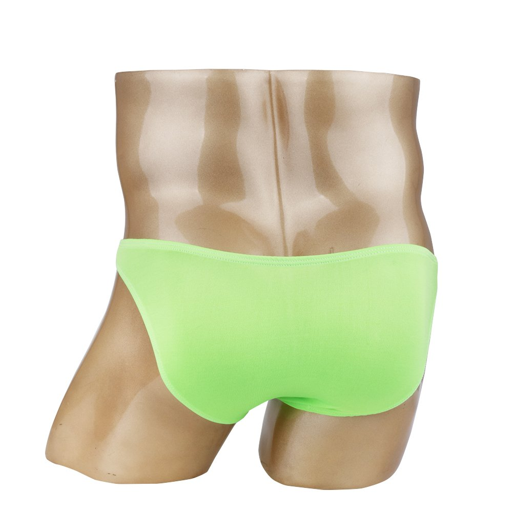 Agoky Men's Open Pouch Panties Front Hole Swimwear Clubwear Nuts Out Underpants Green One_Size by Agoky (Image #2)