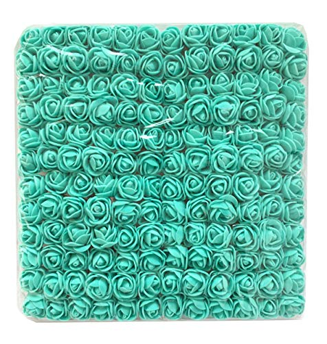 Charmly Mini Fake Rose Flower Heads 144pcs Little Artificial Roses DIY Flowers Accessories Home Hotel Office Wedding Party Craft Art Decor Tiffany Blue