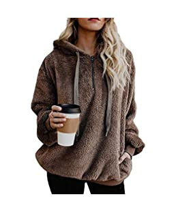 Tinffy Women's Long Sleeve Hooded Fleece Sweatshirt Warm Fuzzy Zip Up Hoodie Pullover
