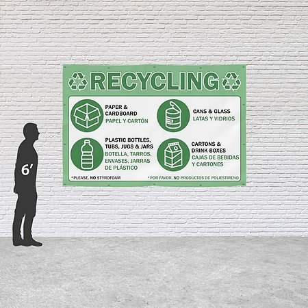 Amazon.com : CGSignLab |Recycling -Bilingual -Green 16oz. Heavy-Duty Outdoor Vinyl Banner with Reinforced Hems & Metal Grommets | 12x8 : Office Products