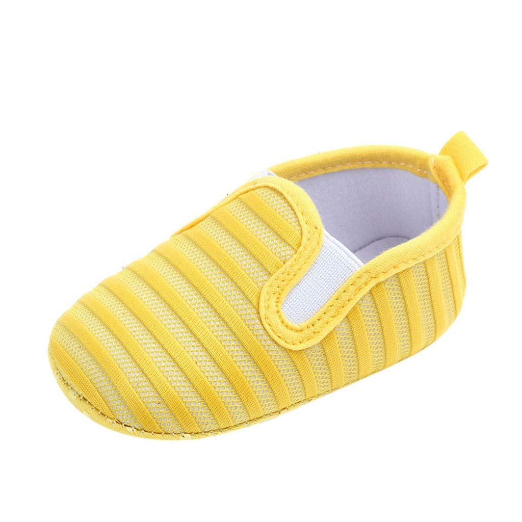 NUWFOR Newborn Baby Candy Color Striped Mesh First Walkers Soft Sole Casual Shoes(Yellow,0-6 Months)