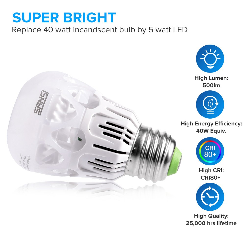 SANSI 40 watt Light Bulbs 5w LED Bulb Equivalent 40w Incandescent Bulb Daylight 5000k Cool White A15 LED Bulb E26 Base 500 Lumen Non-dimmable Energy Saving Bulb for Fans Lamps 5-Year Warranty (6-Pack) by SANSI (Image #3)