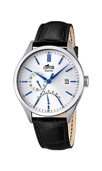 aa1bf8975 Lotus - Reloj con Mecanismo de Cuarzo para Hombre Color Blanco Esfera  analógica Pantalla y Correa de Cuero Negro 18214/1: Amazon.es: Relojes
